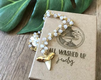 New! // Beaded Moonstone Gold Dipped Shark Tooth Necklace