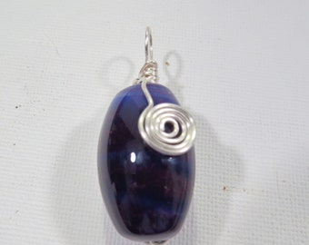 Purple/blue wire wrapped barrel bead