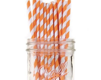 Paper Straws | Orange & White Striped Paper Straws 7.75"