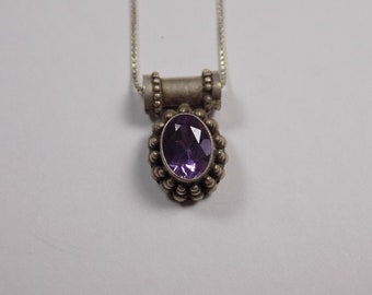 Beautiful sterling silver amethyst pendant with 16 inch sterling silver chain