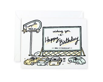 Drive In Movie Happy Birthday Letterpress Card