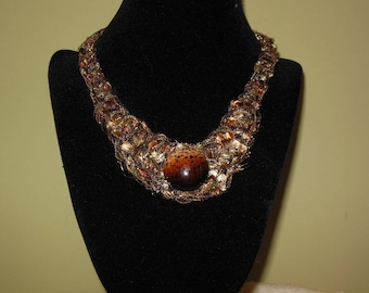 Speckled Brown Medallion Bib Necklace