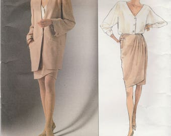 Donna Karan Jacket, Blouse & Wrap Skirt Pattern Vogue 2512 Sizes 8 10 12 Uncut