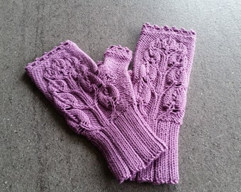Light purple wristlets/ fingerless mittens/gloves hand- knitted