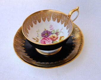 Footed Cup & Saucer Set Aynsley John Bone China