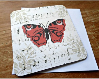 The butterfly greeting card style red oriental handmade 15cm x 15cm