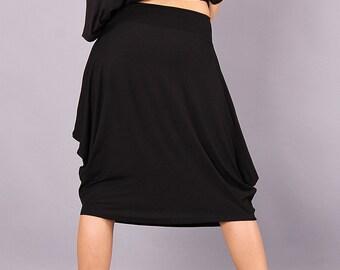 Skirt, Extravagant skirt, knee length skirt, black skirt, asymmetric skirt , women's skirt, loose skirt,by UrbanMood - CO-BEBA2-VL