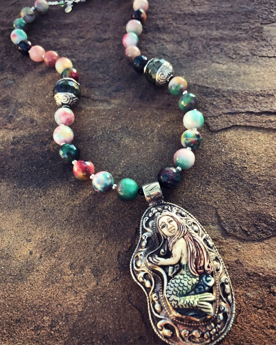 Colorful Agate Mermaid Boho Statement Necklace and Earring Set