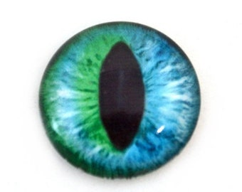 SALE 25mm Teal Blue-Green Cat Eye or Glass Dragon Eye