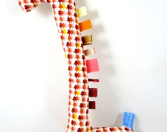 Handmade Taggy Giraffe Tactile Baby Toy -  warm Fall/Autumn colours, deep red, pink & yellow tiny trees Japanese cotton on BOTH sides.