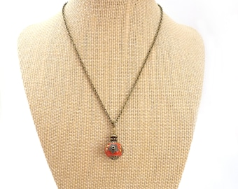 Red Boho Pendant Necklace - Indonesian Clay Bead - Orange Red - Bronze Chain Pendant - Colorful Handmade Necklace - Free Shipping
