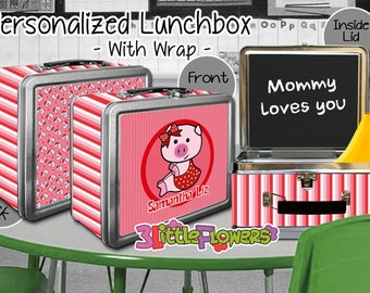 Pig Lunchbox - Personalized Metal Lunch Box with Chalkboard inside - Double-sided Tin Lunch Box - Name lunch box - Wrap or NO wrap