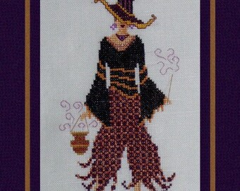 Halloween Cross Stitch Instant Download PDF. Witch For A Night! Counted Embroidery Pattern Whimsical Design. X Stitch. DIY Home Decor.