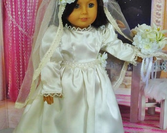 Vintage Wedding Dress with Roses and Lilies - fits American Girl Dolls