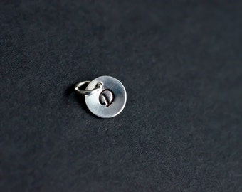ADD A CHARM - Sterling Silver Round Initial Tag, Custom Initial Tag, Hand Stamped Initial, Personalize Your Jewelry.