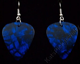 Blue Pearl/Pearloid Genuine Guitar Pick Earrings