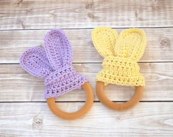 Baby Girl Toy, Baby Toys, Wooden Teething Ring, Crochet Teether, Montessori Baby, Baby Girl Gift Set, Wooden Teething Toy