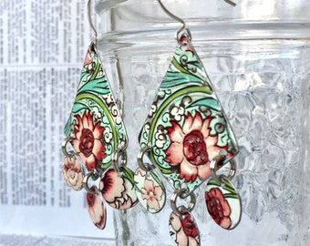 Upcycled embossed flower dangle earrings made from a vintage tin