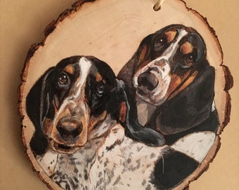 Custom Pyrography/Colored Pencil Pet Portrait Ornament