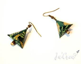 Origami earrings geometric triangle jungle
