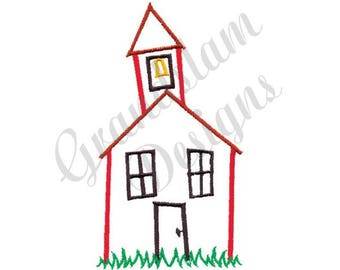 School House Outline - Machine Embroidery Design