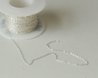 Sterling Silver, Jewelry Chain, By the Foot, Footage Chain, Flat Oval Cable, Dainty Chain, Tiny Chain, 1.4mm, Fast Shipping from USA
