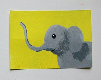 "The Yellow Elephant #60 (ARTIST TRADING CARDS) 2.5"" x 3.5"" by Mike Kraus"