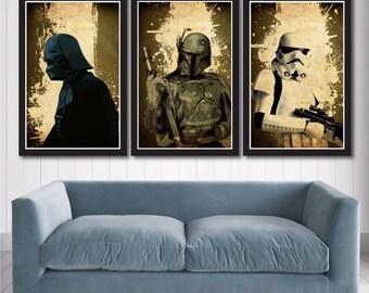 Star Wars Poster Set - Darth Vader, Boba Fett & Stormtrooper