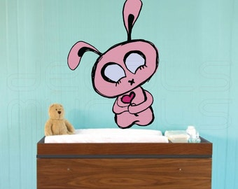 Wall decals PINK BUNNY Decor stickers for walls - doors - furniture by Decals Murals