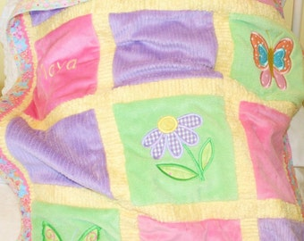 """Butterfly Minky Appliqued Baby Blanket """"Beautiful Butterfly"""""""