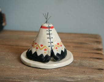Unique Art Incense Burner TeePee, Aztec Ceramic Black Coral Yellow, Native American Indian, Stoneware Clay Pottery, Yogi Off Grid