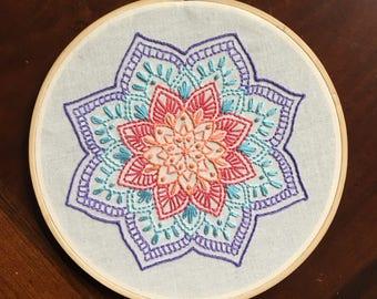 """Colorul Mandala Embroidery Hoop Art Wall Decor 8"""""""