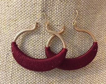 Burgundy earrings, red large drop earrings, Burgundy tassel earrings, gold hoop earrings, crew, j crew earrings, earrings, jewelry