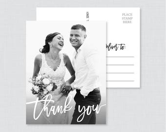 Printable OR Printed Picture Thank You Postcards - Modern Script Photo Thank You Postcards for Wedding - Photo Postcards with Picture 102
