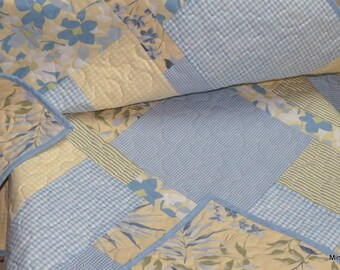Lap Quilt, Baby Blanket, Vintage Sheets, Upcycled, Eco-friendly, Yellow Blue Green