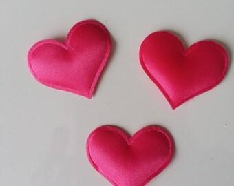 Lot de 3 appliques coeur satin rose fuchsia