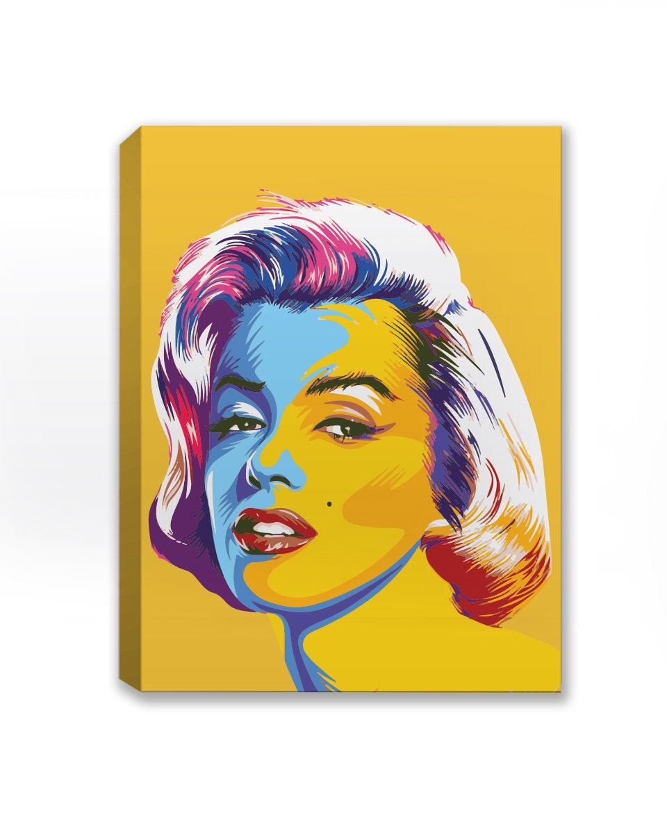 Colorful Marilyn Canvas Art. Marilyn Monroe Wall Art. Yellow