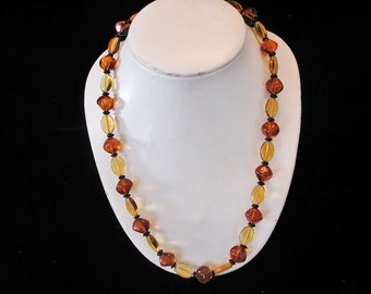 Glass Beads Two Shade of Amber.....Vintage Glass Bead Necklace