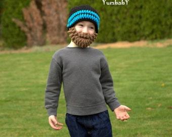 Bart Hut - schwarz und blau Neon - alle Größen - bärtiger Beanie