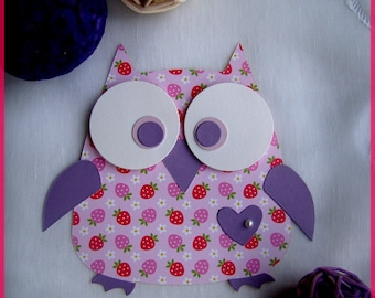 Original OWL birth announcement girl pink and purple heart