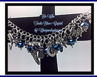 Dr Who Charm Bracelet Tribute Inspired  jewelry geekery fandom  Style with Tardis Blue Crystal-1