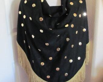 Ethel of Beverly Hills // Large Black Gold Studded Fringed Wool Vintage Scarf or Shawl