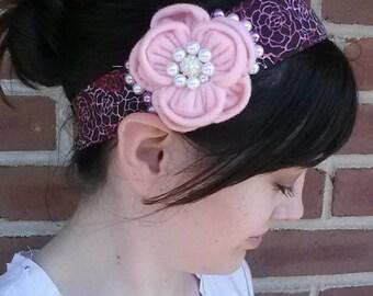 pink felt flower headband