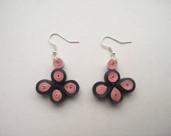 Black and soft pink petal shaped earrings