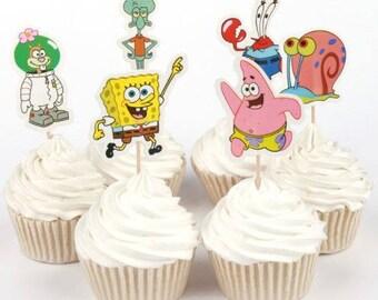 READY TO SHIP Spongebob Themed Cupcake Toppers Picks, Party Picks, Cake Toppers, Cake Topper Pick, Cupcake Picks, Birthday, Baby