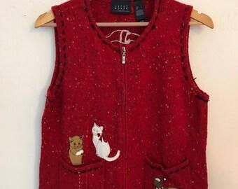 SALE Womens Ugly Christmas Sweater Vest Cat Chrismas Sweater Vest Size Large L