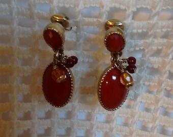 Liz Claiborne Brown Dangly Clip on Earrings:  Vintage