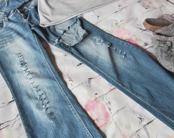 Ripped Jeans, Torn, Boho, Blue Jeans, Boot Cut, Low rise, Hippie, Juniors Size 7, Distressed, Tattered , Grunge Rock Fashion,Trendy, Funky