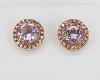 1.95 ct Amethyst and Diamond Halo Stud Earrings Studs Pink Rose Gold February Gem