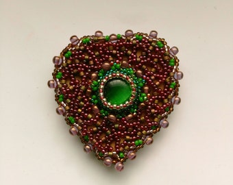 Beadwoven Heart Brooch, Burgundy garnet bright green, Beaded Heart, Mother's Day, Valentine's Day, Birthday-Romantic Heart by enchantedbeads